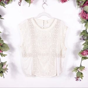 Anthro Tiny | Lace Panel Cap Sleeve Blouse